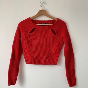 Nasty gal bright red cropped knit sweater.